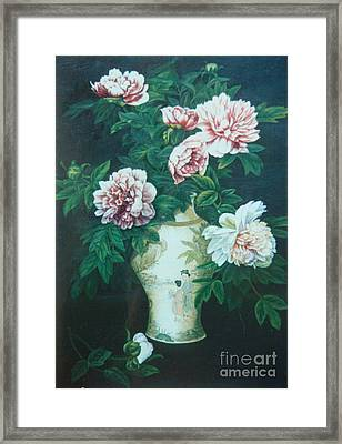Peonies In Vase Framed Print by Tierong Fu