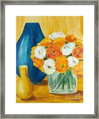 Framed Print featuring the painting Peonies by Maria Langgle