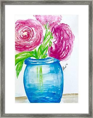 Peonies Mason Jar Framed Print by Gail Nandlal