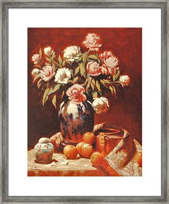 Peonies With Ginger Jar Framed Print by David Olander