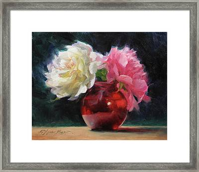Peonies With Red Vase Framed Print