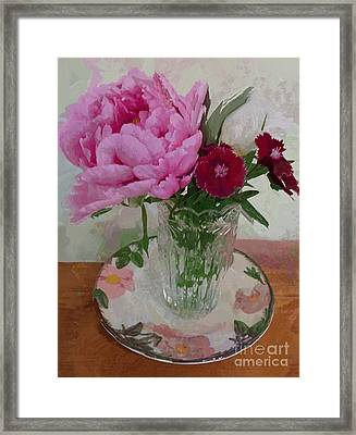 Framed Print featuring the digital art Peonies With Sweet Williams by Alexis Rotella