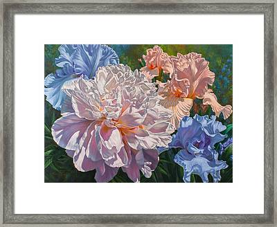 Peony And Irises Framed Print