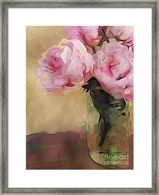 Framed Print featuring the digital art Peony Bouquet by Alexis Rotella