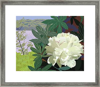 Peony By The Lake Framed Print by Marian Federspiel