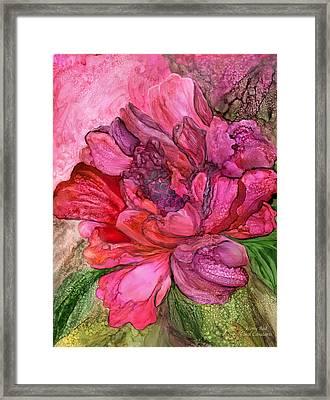 Peony Red - Organica Framed Print by Carol Cavalaris