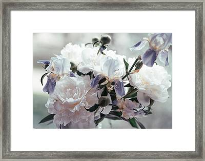 Framed Print featuring the photograph Peony Romance by Jenny Rainbow