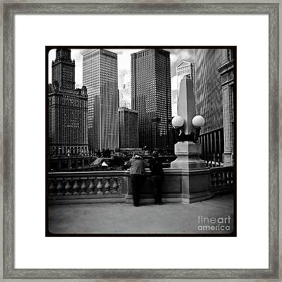 People And Skyscrapers - Square Framed Print by Frank J Casella