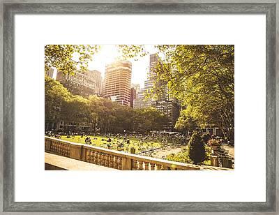 People Chilling In Bryant Park New York Framed Print by Leonardo Patrizi