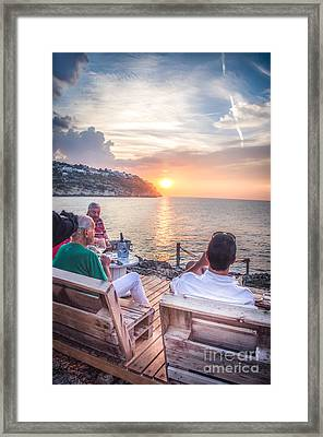 People Drink Canvas An Aperitif Enjoying The Sunset Framed Print by Luca Lorenzelli