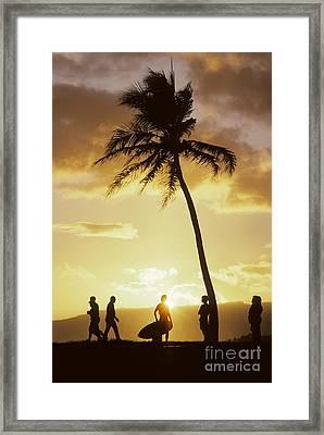 People Enjoy Sunset Palms Framed Print
