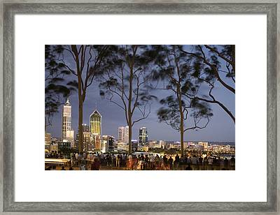 People In Kings Park Watching Fireworks On Australia Day With Perth Skyline In Background Framed Print by Orien Harvey