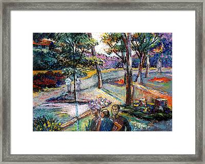 People In Landscape Framed Print by Stan Esson