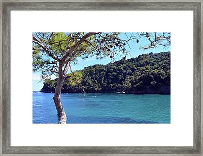 People In The Water And Boats In Portofino, Italy Framed Print