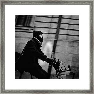 #people #man #beard #hood #winter #bike Framed Print