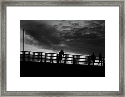 People On The Bridge Framed Print by Bob Orsillo