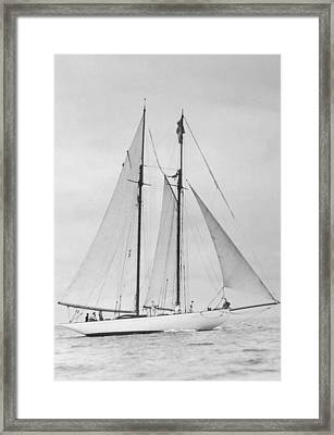 People Sailing On Yacht (b&w) Framed Print by Fpg