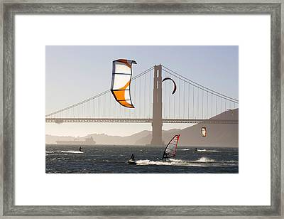 People Wind Surfing And Kitebording Framed Print by Skip Brown