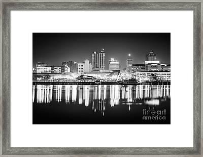 Peoria Illinois At Night Black And White Photo Framed Print