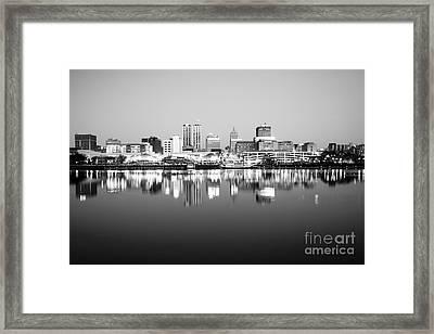 Peoria Illinois Skyline Black And White Photo Framed Print