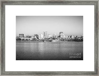 Peoria Skyline Black And White Photo Framed Print