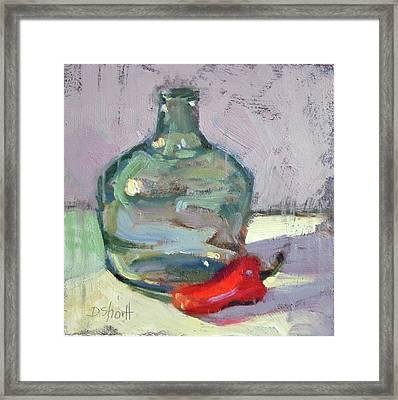 Pepper And Bottle Framed Print by Donna Shortt