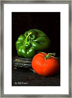 Framed Print featuring the photograph Pepper And Tomato by Elf Evans