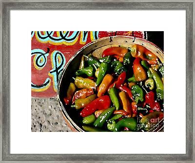 Pepper Basket Framed Print by Linda  Parker