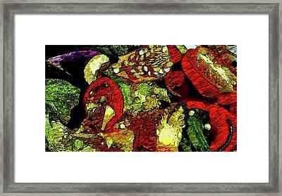 Pepper Eggplant Scraps  Framed Print