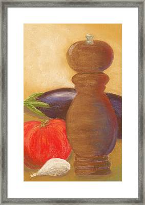 Peppermill With Italian Vegetables Framed Print by Cheryl Albert