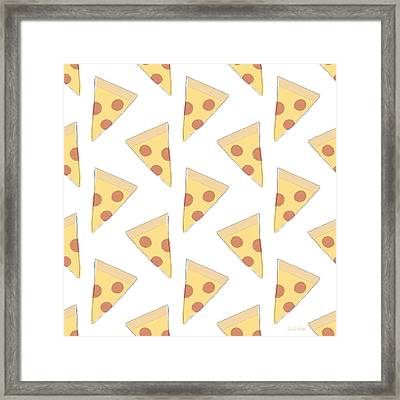 Pepperoni Pizza- Art By Linda Woods Framed Print
