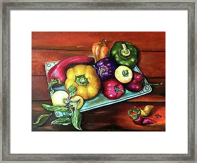 Peppers And A Turquoise Tray Framed Print