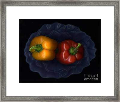 Peppers And Blue Bowl Framed Print