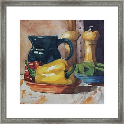 Peppers And Jug Framed Print