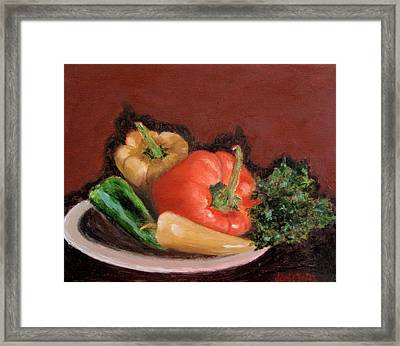 Peppers And Parsley Framed Print by Jamie Frier