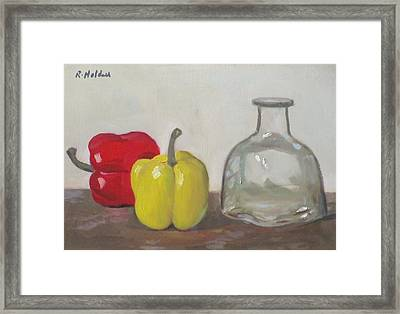 Peppers And Tequila Bottle Framed Print