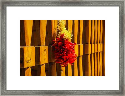 Peppers Hanging On Wooden Gate Framed Print