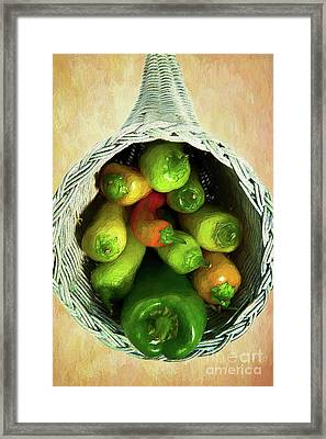 Framed Print featuring the painting Peppers In A Horn Of Plenty Basket Ap by Dan Carmichael