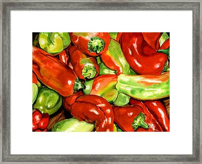 Peppers Framed Print by Nadi Spencer