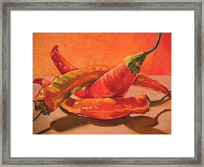 Peppers Playing Twister Framed Print by Outre Art  Natalie Eisen