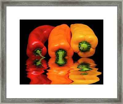 Framed Print featuring the photograph Peppers Red Yellow Orange by David French