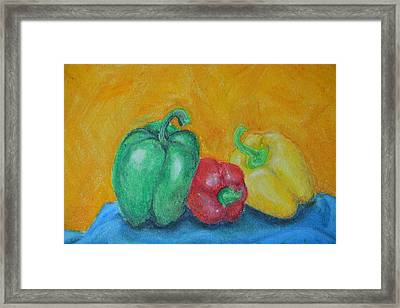 Peppers Framed Print by Robin Lee