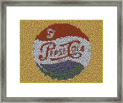Pepsi Bottle Cap Mosaic Framed Print by Paul Van Scott