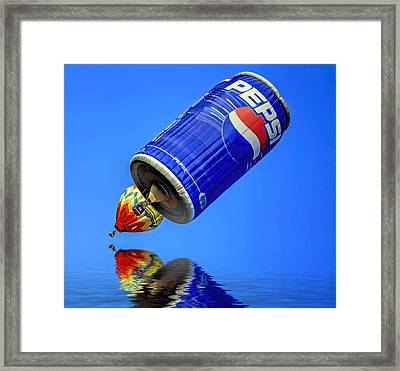 Pepsi Can Hot Air Balloon At Solberg Airport Reddinton  New Jersey Framed Print