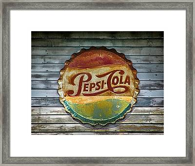 Pepsi-cola Sign Vintage Framed Print by Betty Denise