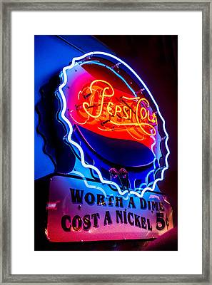 Pepsi Cola - Worth A Dime, Cost A Nickel Framed Print