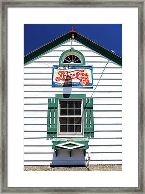Pepsi Window At Ambler's Texaco Gas Station Framed Print by John Rizzuto