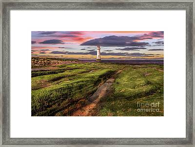 Perch Rock Lighthouse Sunset Framed Print by Adrian Evans