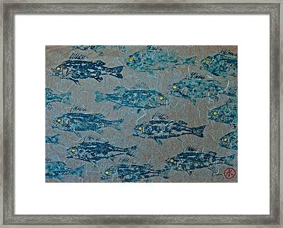 Perch School On Blue Unryu Paper Framed Print