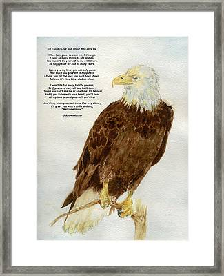 Framed Print featuring the painting Perched Eagle- With Verse by Andrew Gillette